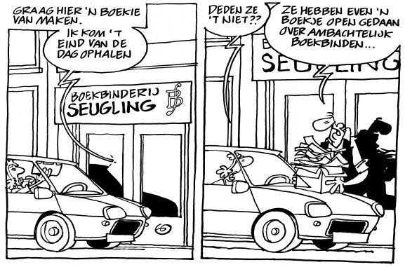Boekbinderij Seugling Amsterdam, een cartoon van Gerrit de Jager, boekje open over ambachtelijk boekbinden, handgemaakte boeken, dozen, portfolio, gedenkboeken, printen en binden